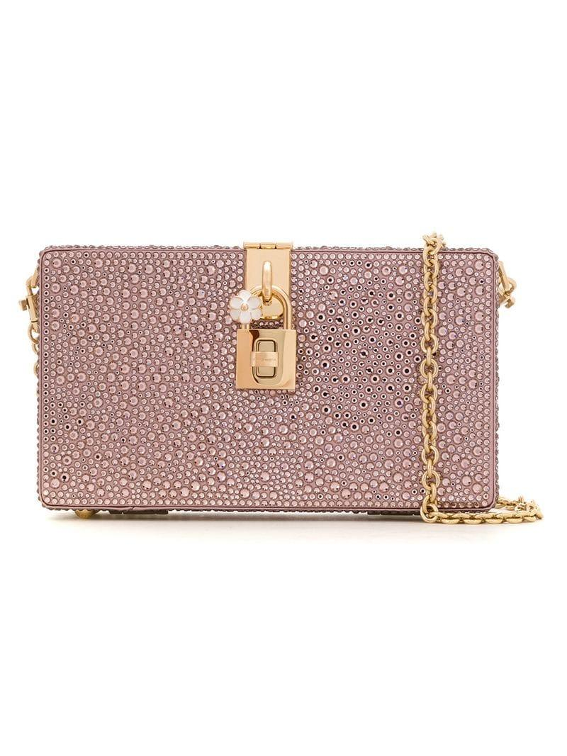 Dolce   Gabbana Crystal Embellished Clutch Bag in Pink - Lyst 0adce916eac02
