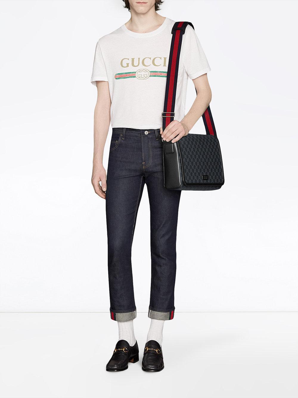 Gucci - Black Sac porté épaule GG Supreme for Men - Lyst. Afficher en plein  écran ae78ec1beae