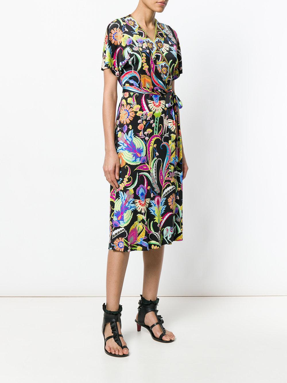 floral print wrap dress - Black Etro SEAY2