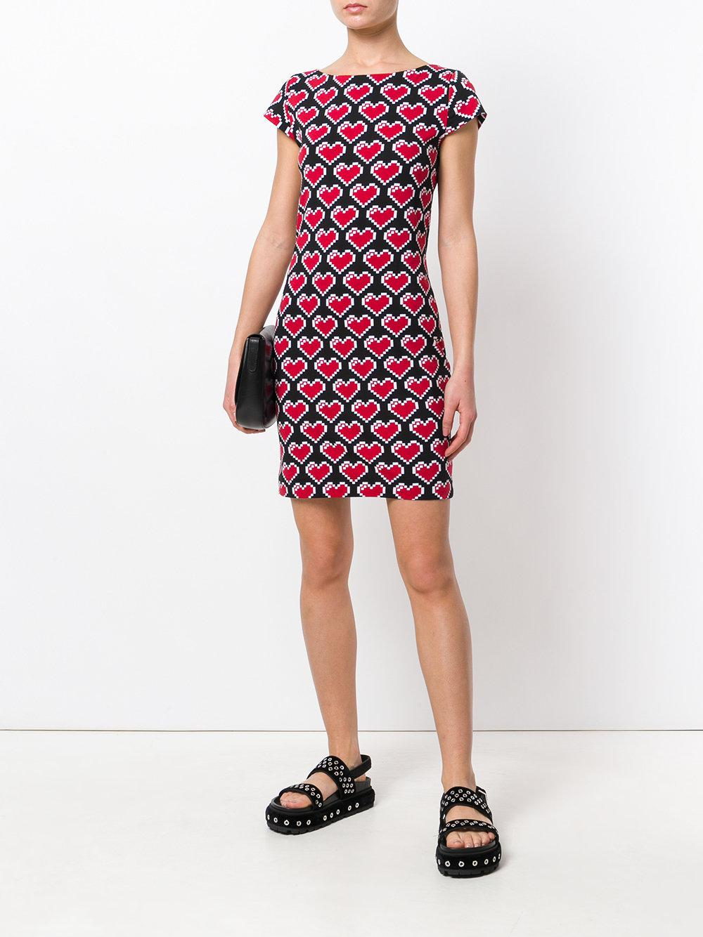4155c159846 Love Moschino Heart Pixel Dress in Black - Lyst