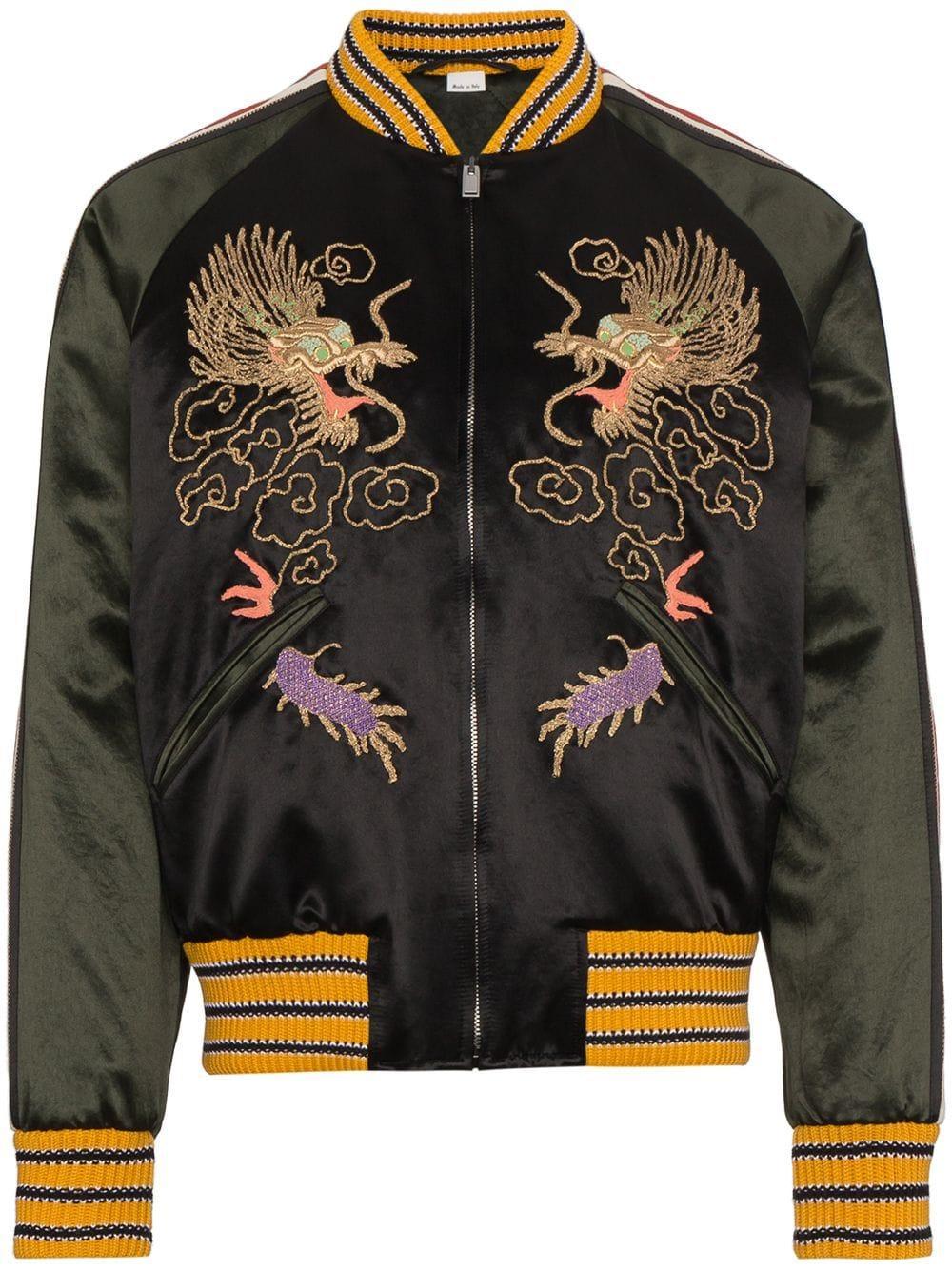 1e86c3e5e Gucci GG Embroidered Dragon Bomber Jacket in Black for Men - Lyst