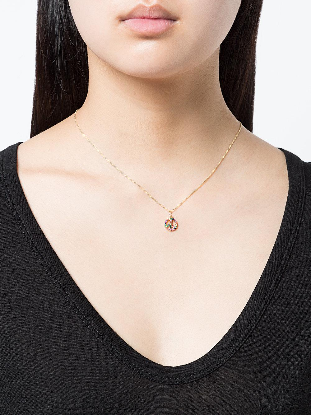 Sydney Evan Small 14kt Yellow Gold Gemstone Peace Necklace in Metallic