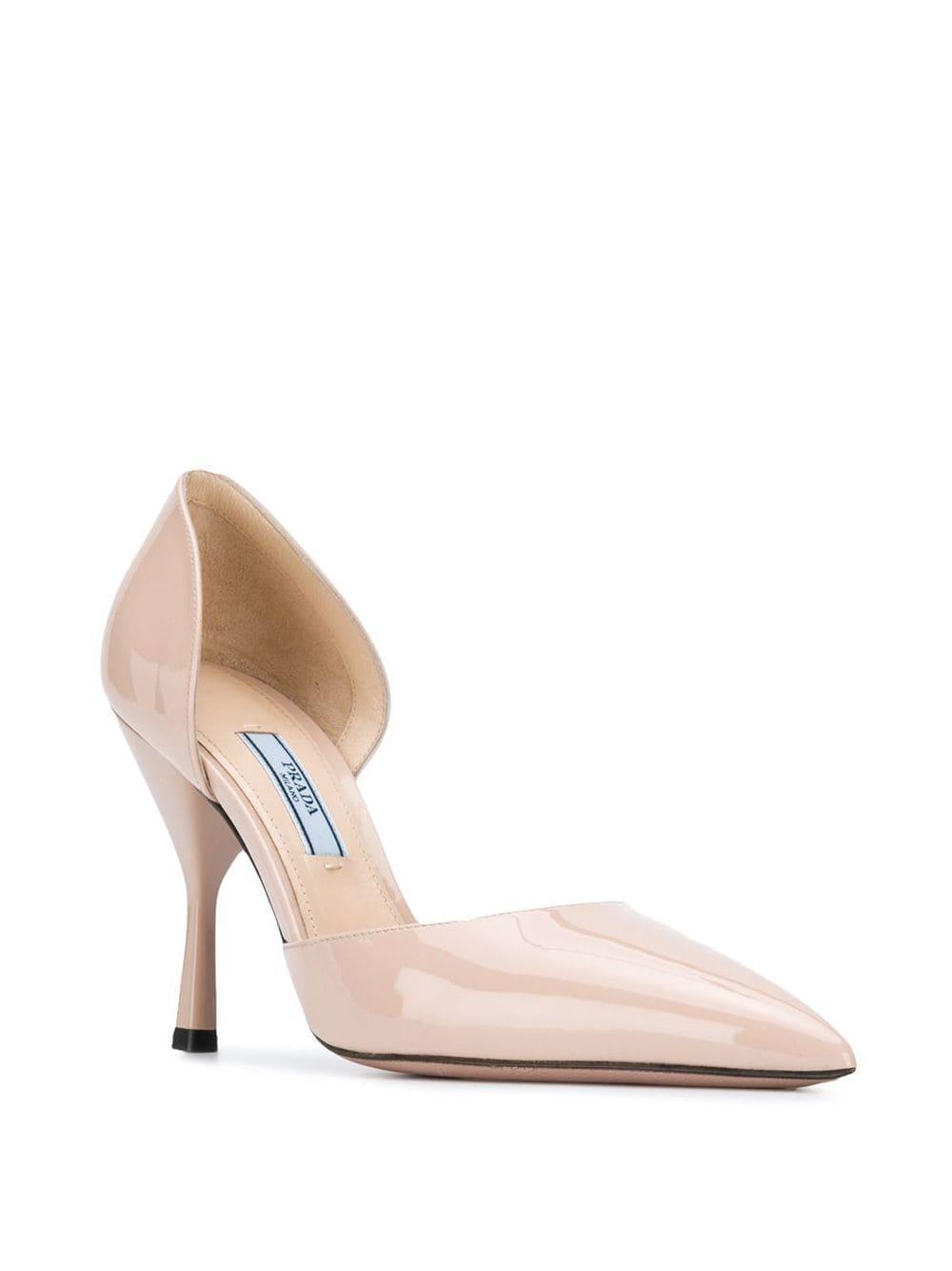 Zapatos de tacón con puntera en punta Prada de Cuero de color Rosa