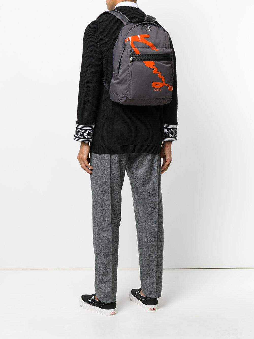 KENZO Synthetic Signature Backpack in Grey (Grey) for Men