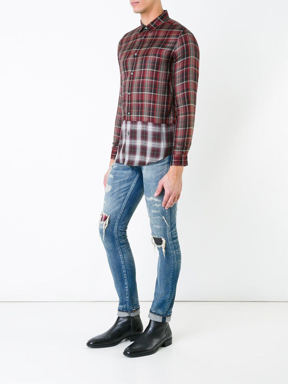 HL Heddie Lovu Wool Panelled Checked Shirt in Red for Men