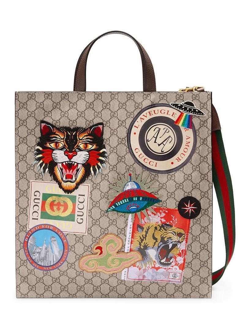 9e0f46e6a Gucci - Multicolor Courrier Soft GG Supreme Tote for Men - Lyst. View  fullscreen