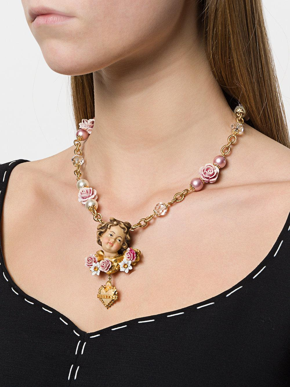 Dolce & Gabbana Cherub Rose Necklace