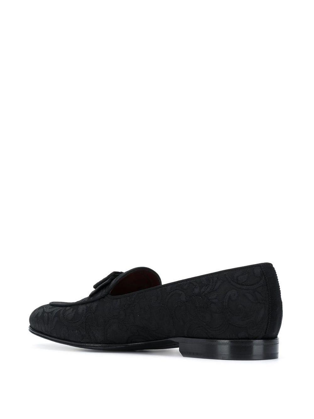 Dolce & Gabbana Leer Loafers Met Barok Jacquard in het Zwart voor heren
