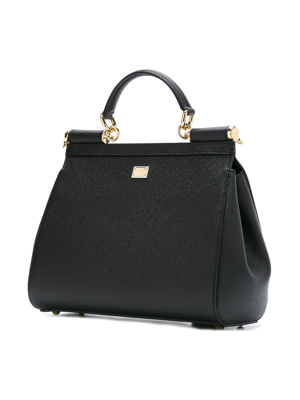 Dolce & Gabbana Leather #dg Family Patch Sicily Tote in Black