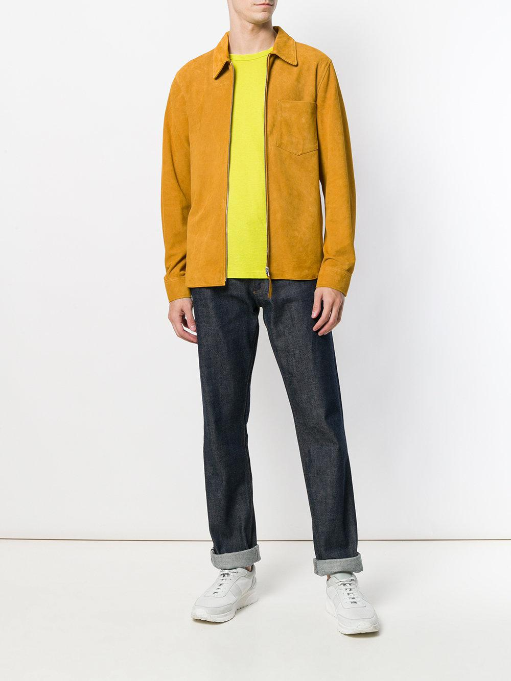 Our Legacy Suede Zipped Biker Jacket in Yellow & Orange (Yellow) for Men