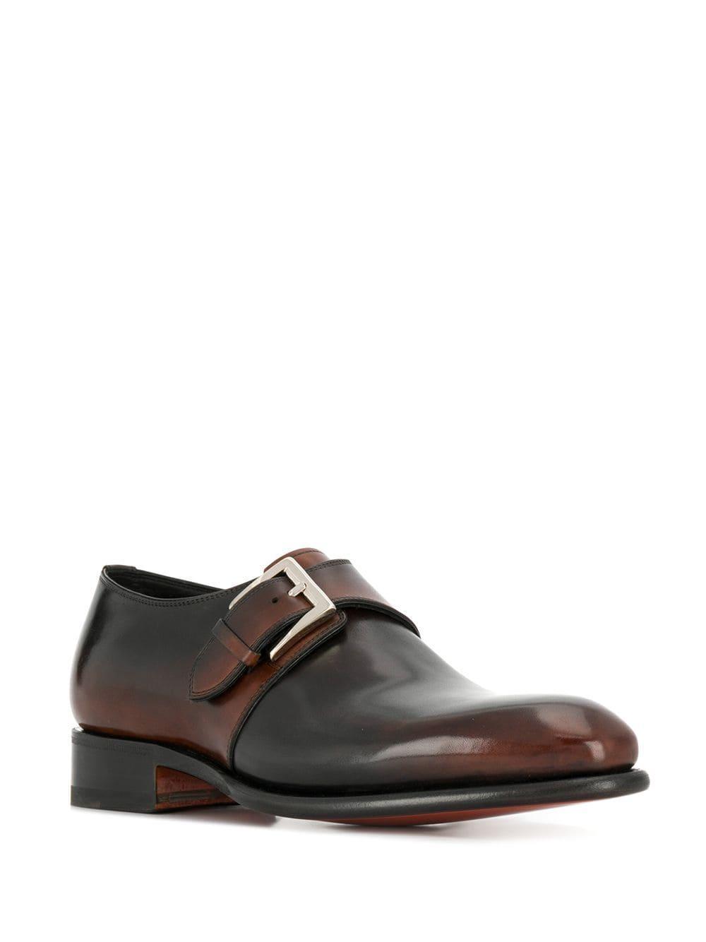 Two-tone monk shoes Santoni de Cuero de color Marrón para hombre