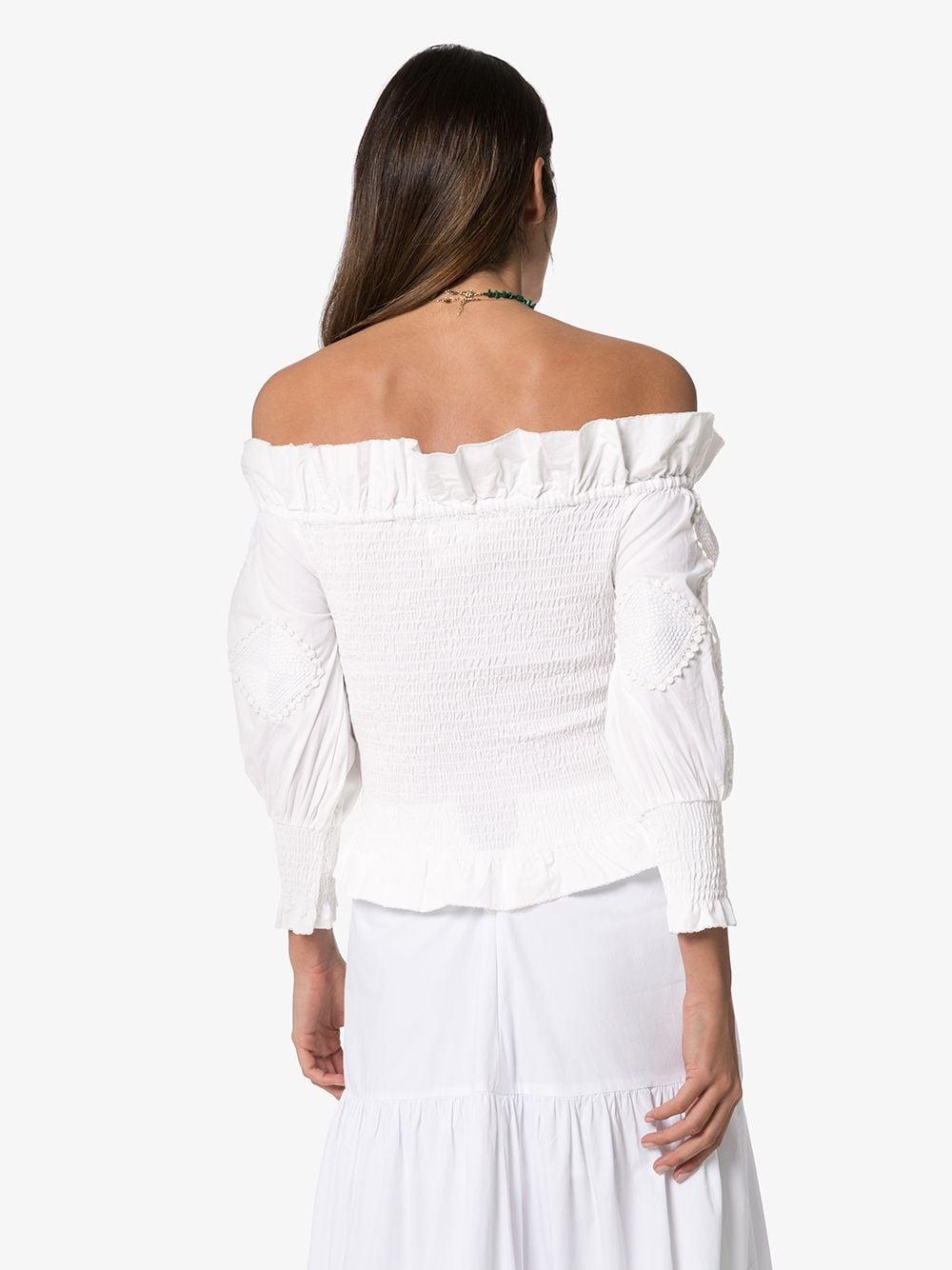 Top volanté à épaules dénudées Coton Chufy en coloris Blanc