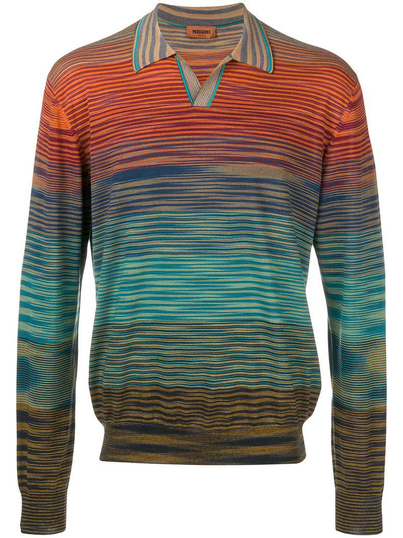 7ab45d2f144d Missoni Knitted Polo Shirt in Red for Men - Lyst