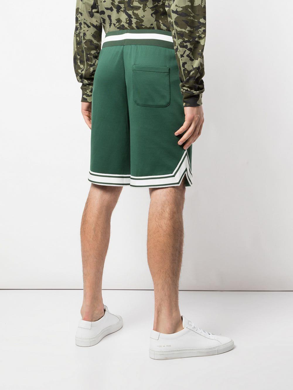 0a30d031df87 Moncler Stripe Detail Shorts in Green for Men - Lyst