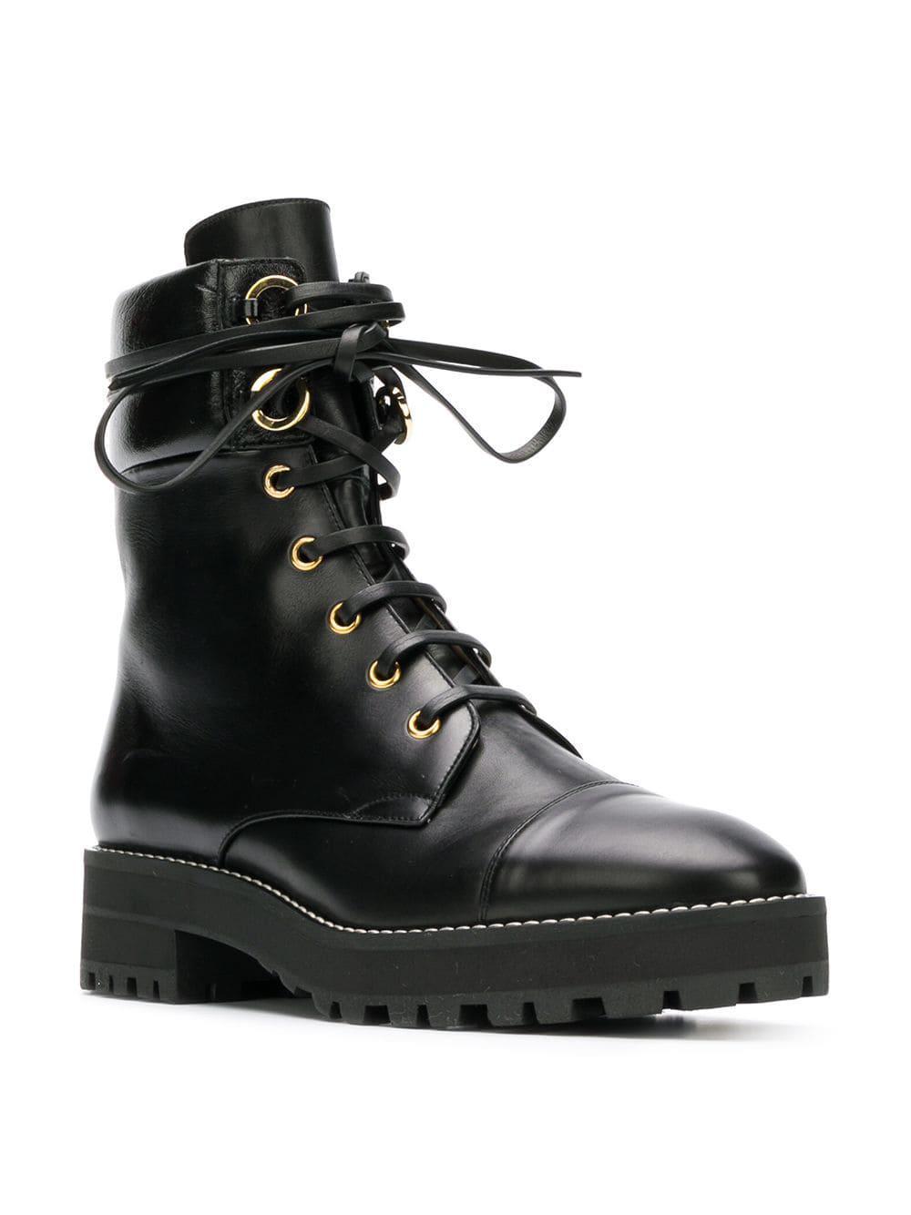 stuart weitzman women's lexy round toe leather lace up boots