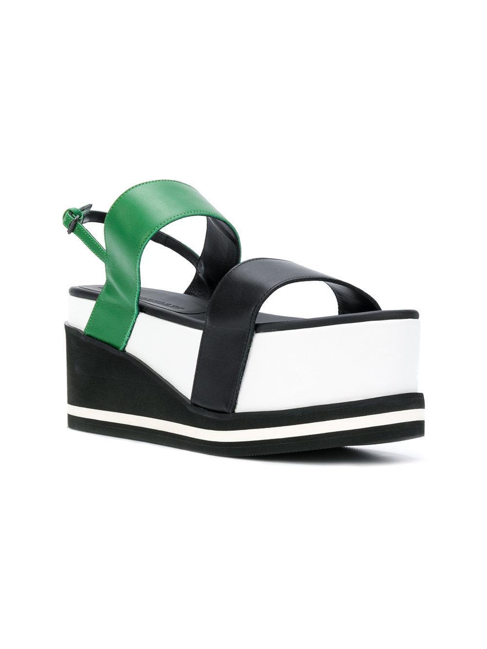 e927418f3f27b1 Lyst - A.F.Vandevorst Colour Block Flatform Sandals in Green