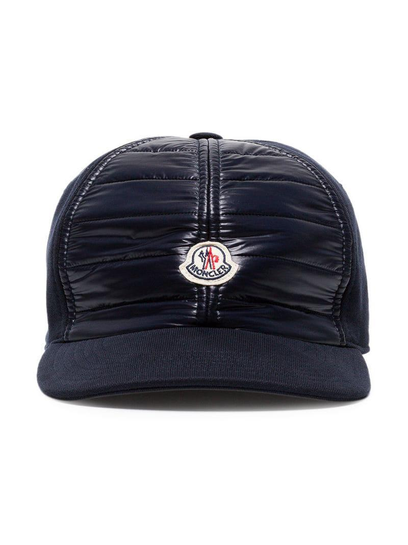 736b4d21ee4 Moncler Navy Blue Logo Patch Cotton Cap in Blue for Men - Lyst