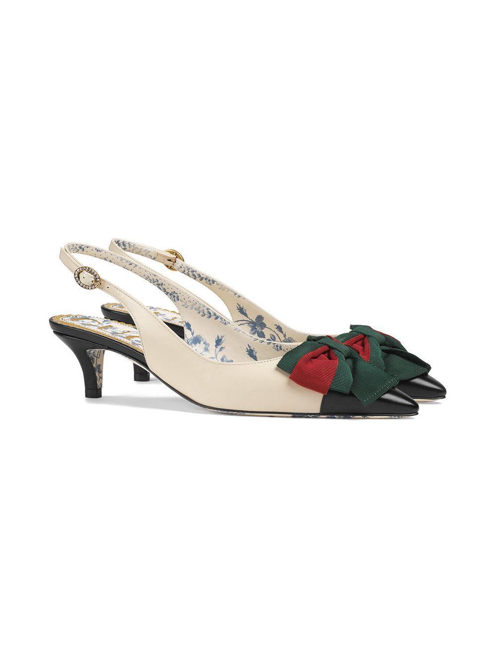 Gucci Pompe Cuir Bride Arrière Avec Nœud Web - Blanc VRkn2qAad