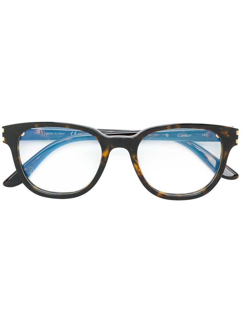 Lyst - Cartier Rectangle Frame Glasses in Brown