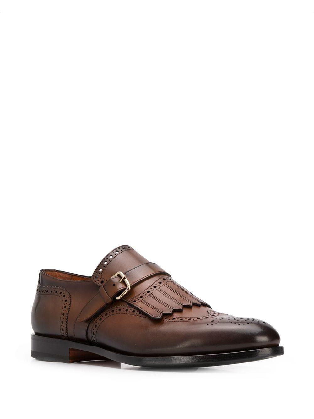 Chaussures perforées à boucle Cuir Santoni pour homme en coloris Marron