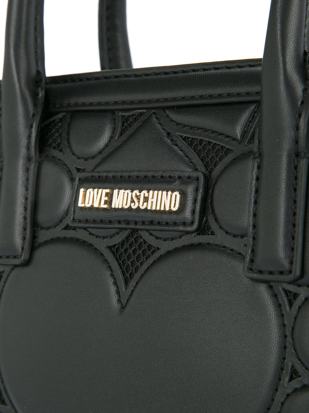 Love Moschino Heart-embroidered Tote in Black