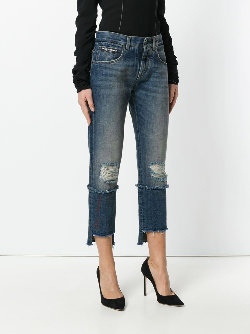 Dolce & Gabbana Cropped Distressed Double Denim Jeans in Blue