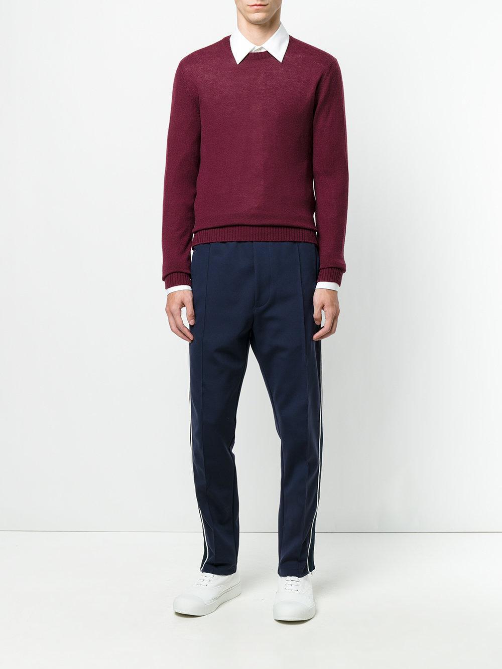 Prada Cashmere Crew Neck Sweater in Red for Men