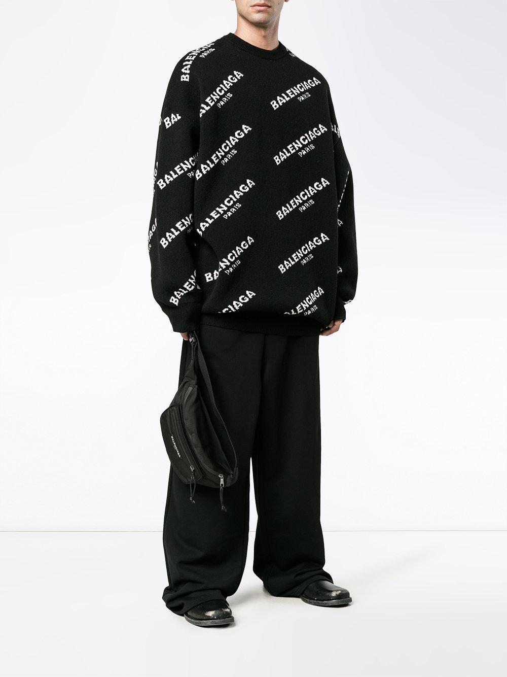 63aec8723e2 Balenciaga Oversized All-over Logo Sweatshirt in Black for Men - Lyst