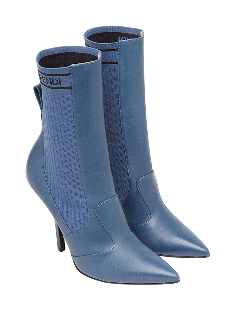 Fendi Leather Rockoko Boots in Blue - Lyst