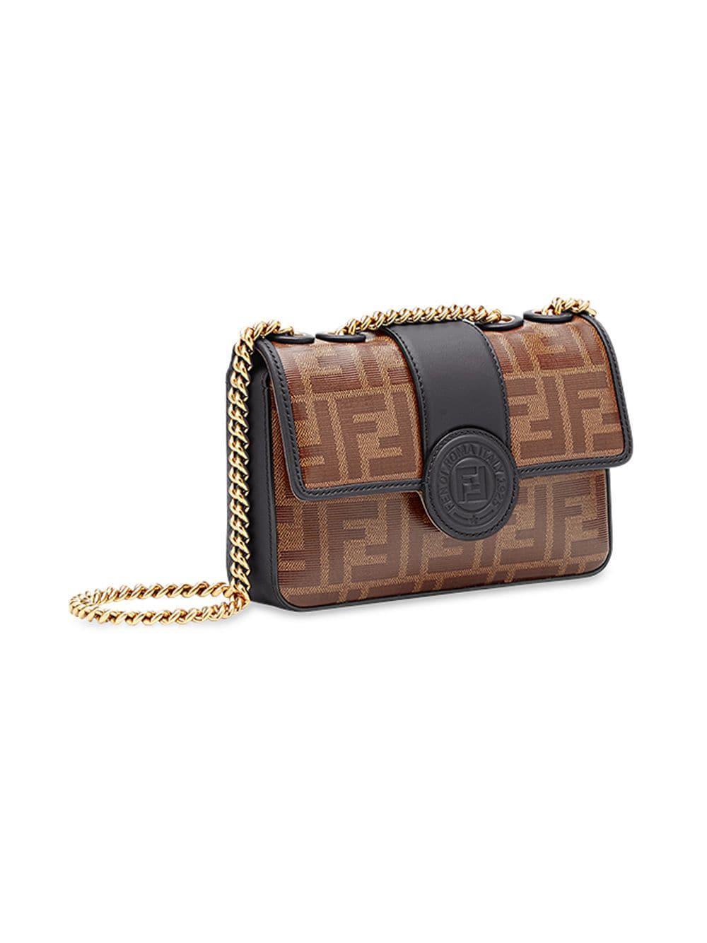 Fendi - Brown Double F Logo Print Leather Cross Body Bag - Lyst. View  fullscreen 59e0a5dc352a5