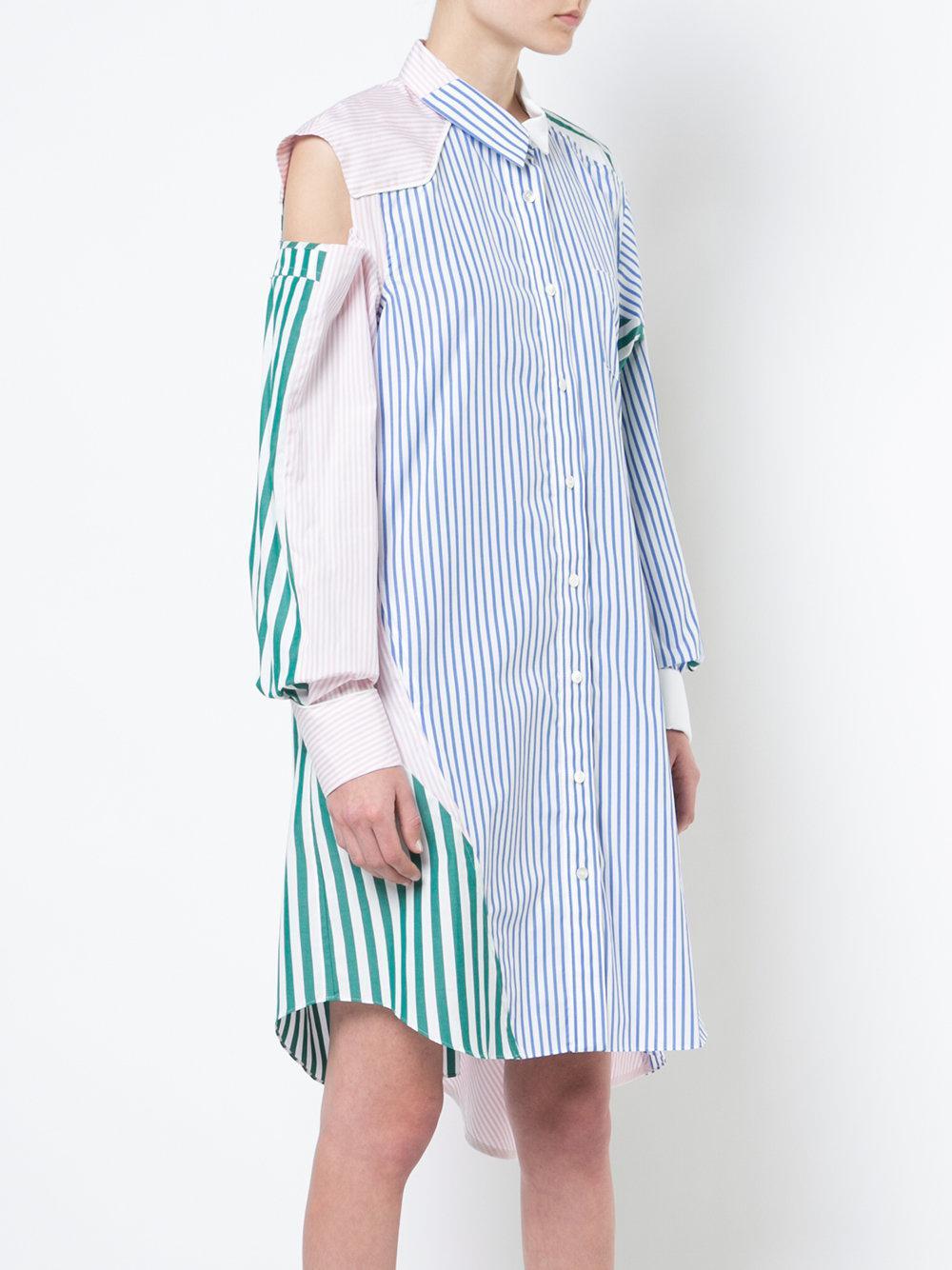 Vestido asimétrico de camisa de multicolor patchwork Sacai rfzrqFI
