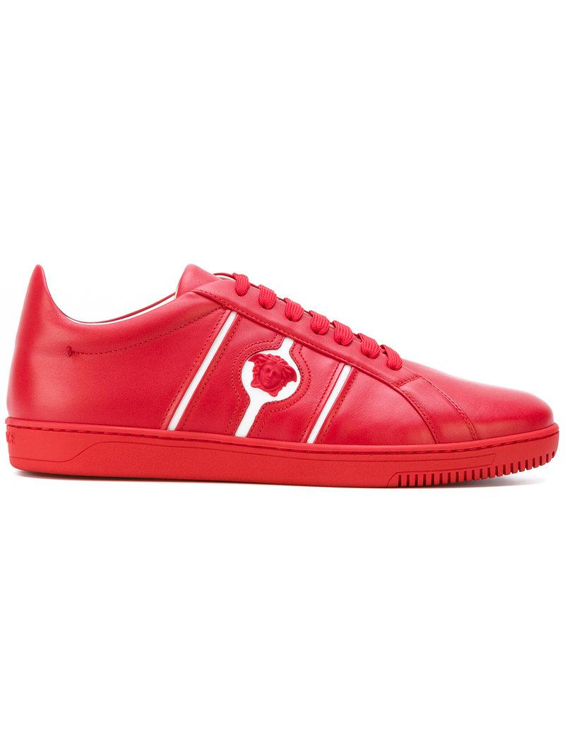 Versace Leather Medusa Head Monotone Sneakers in Red for ...