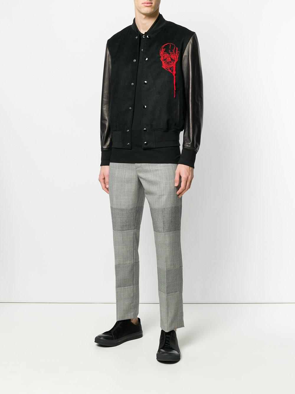 546e0f2f4fe Alexander McQueen Embroidered Varsity Jacket in Blue for Men - Lyst