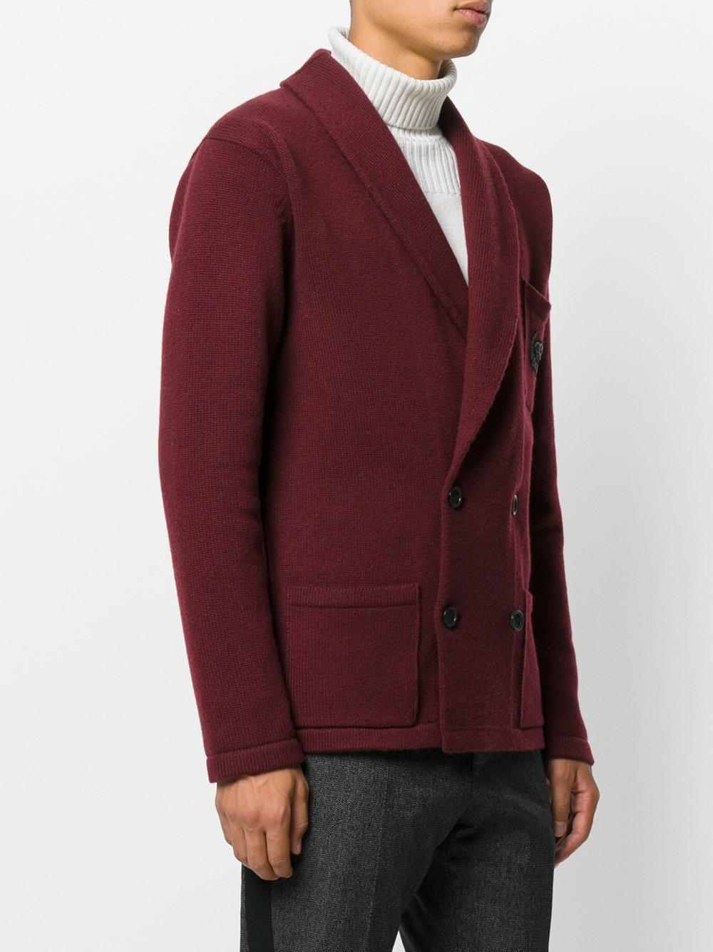Dolce & Gabbana Cashmere Embroidered Shawl Lapel Jacket for Men