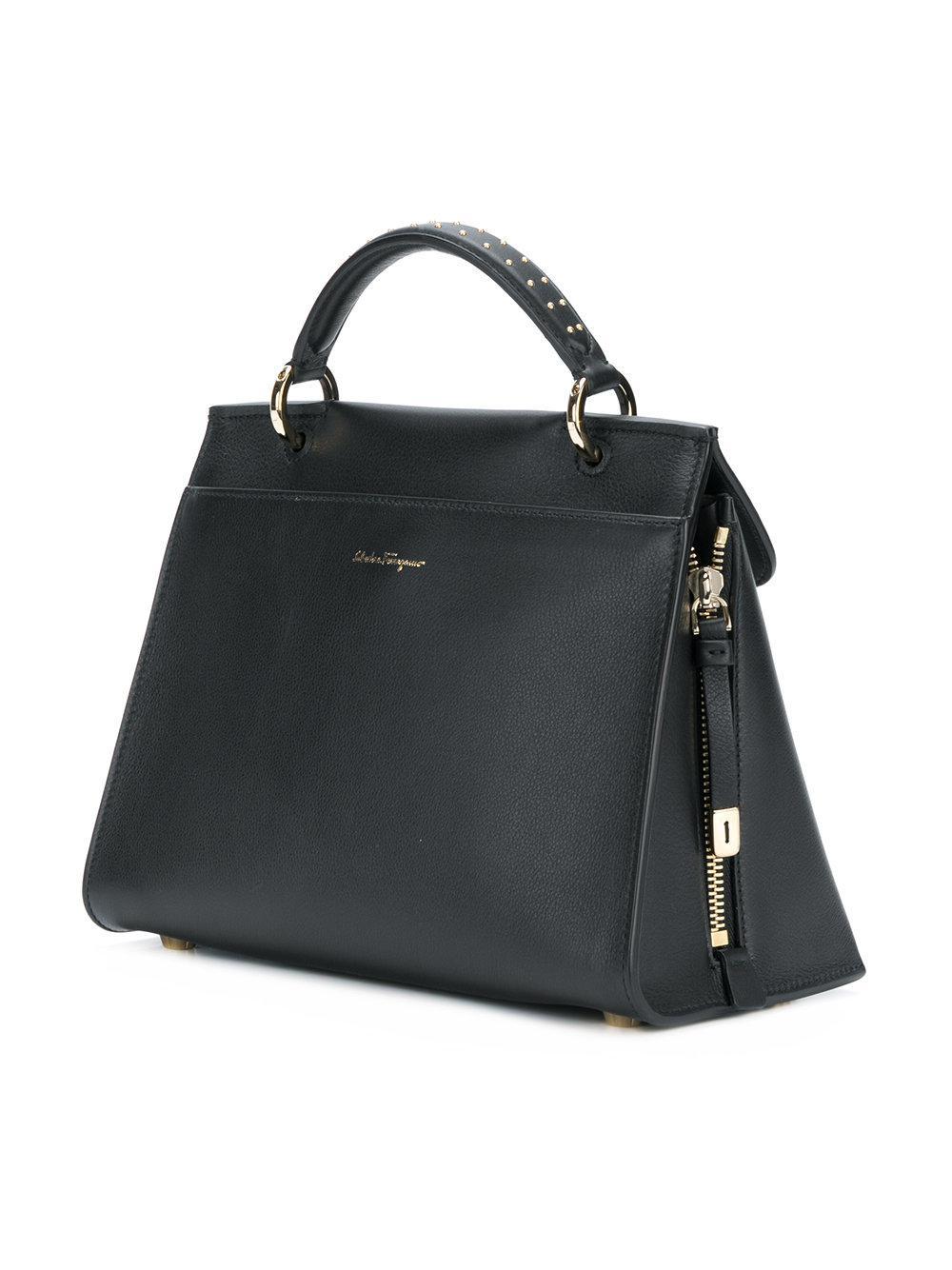 Ferragamo Leather Jet Set Tote Bag in Black