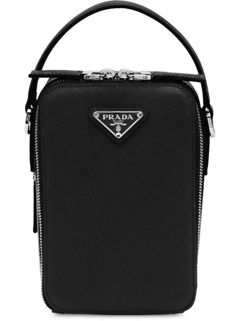 042280a2fb15 Prada - Black Saffiano Leather Shoulder Bag for Men - Lyst. View fullscreen