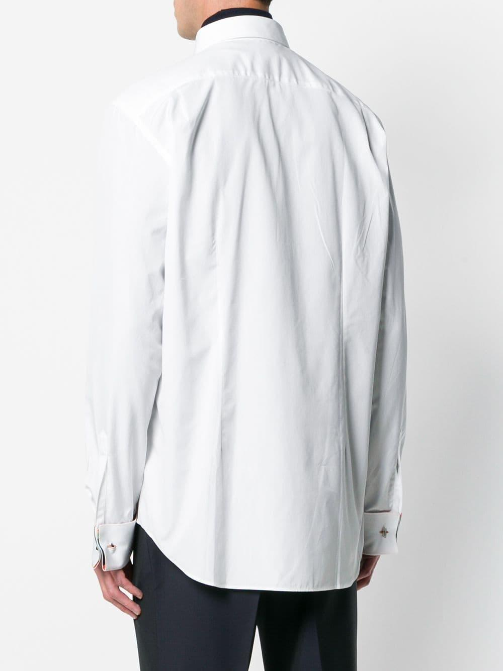 Paul Smith Cotton Pleated Long-sleeve Shirt in White for Men