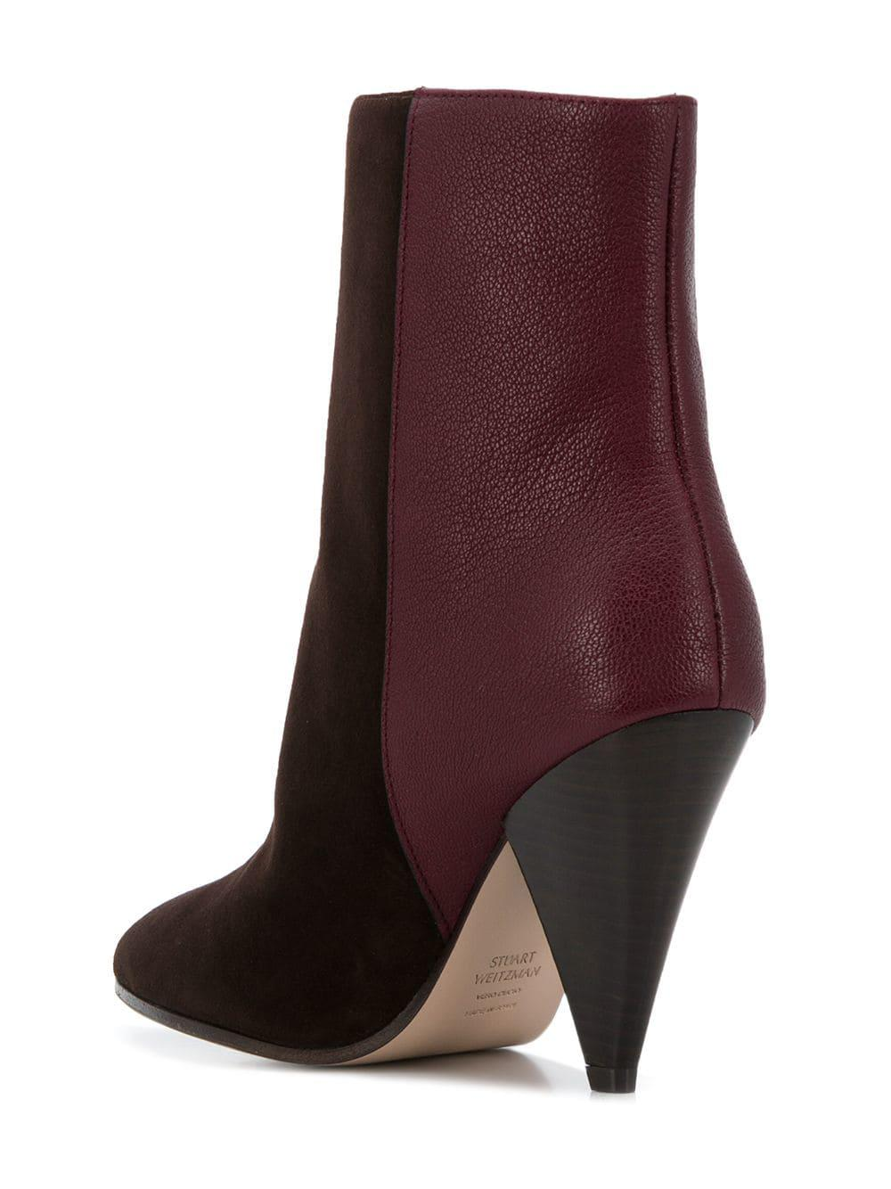 Stuart Weitzman Leather Cone Heel Ankle Boots in Brown