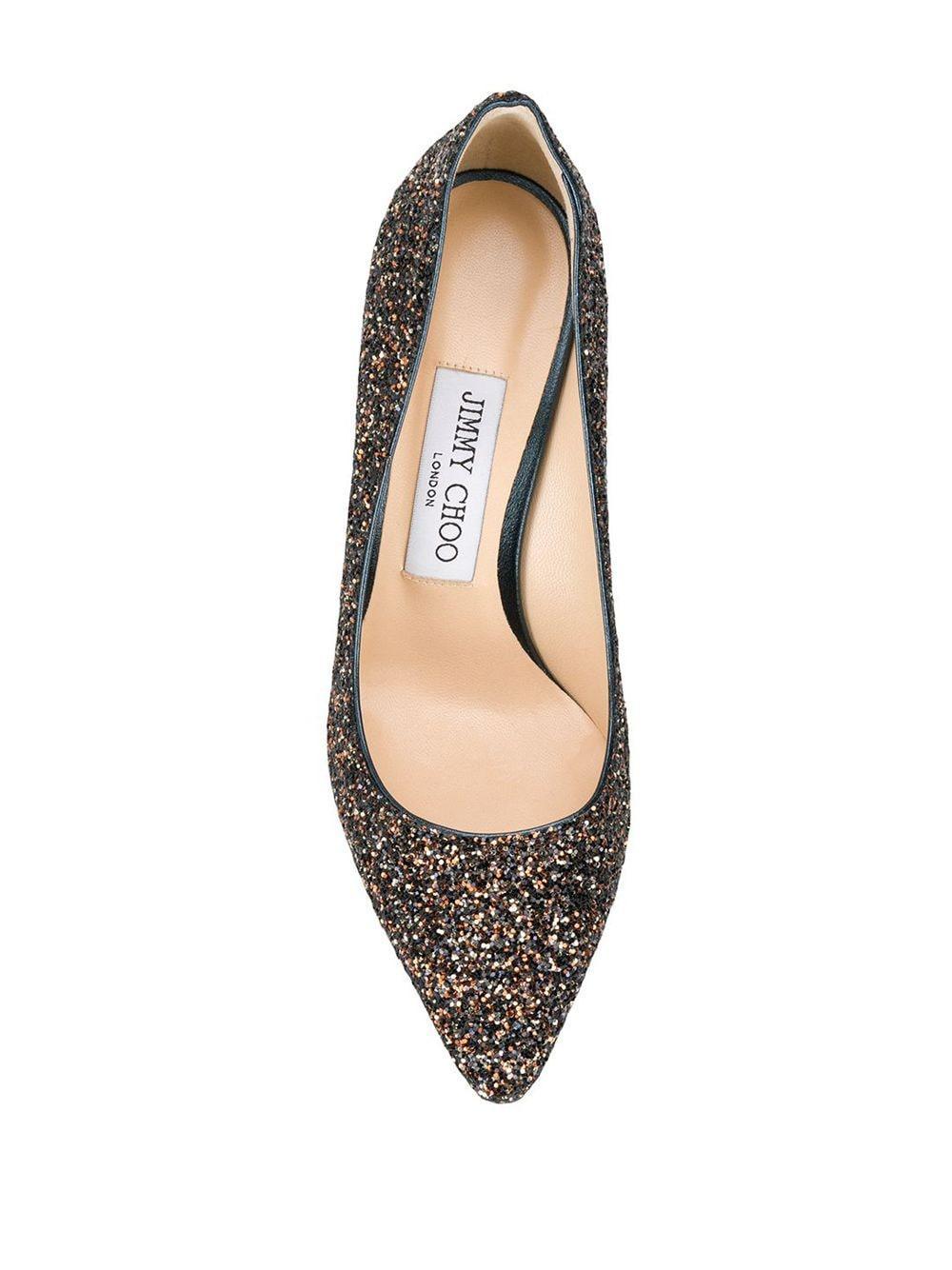 Zapatos de tacón Romy 100 con detalles de purpurina Jimmy Choo de Cuero de color Marrón