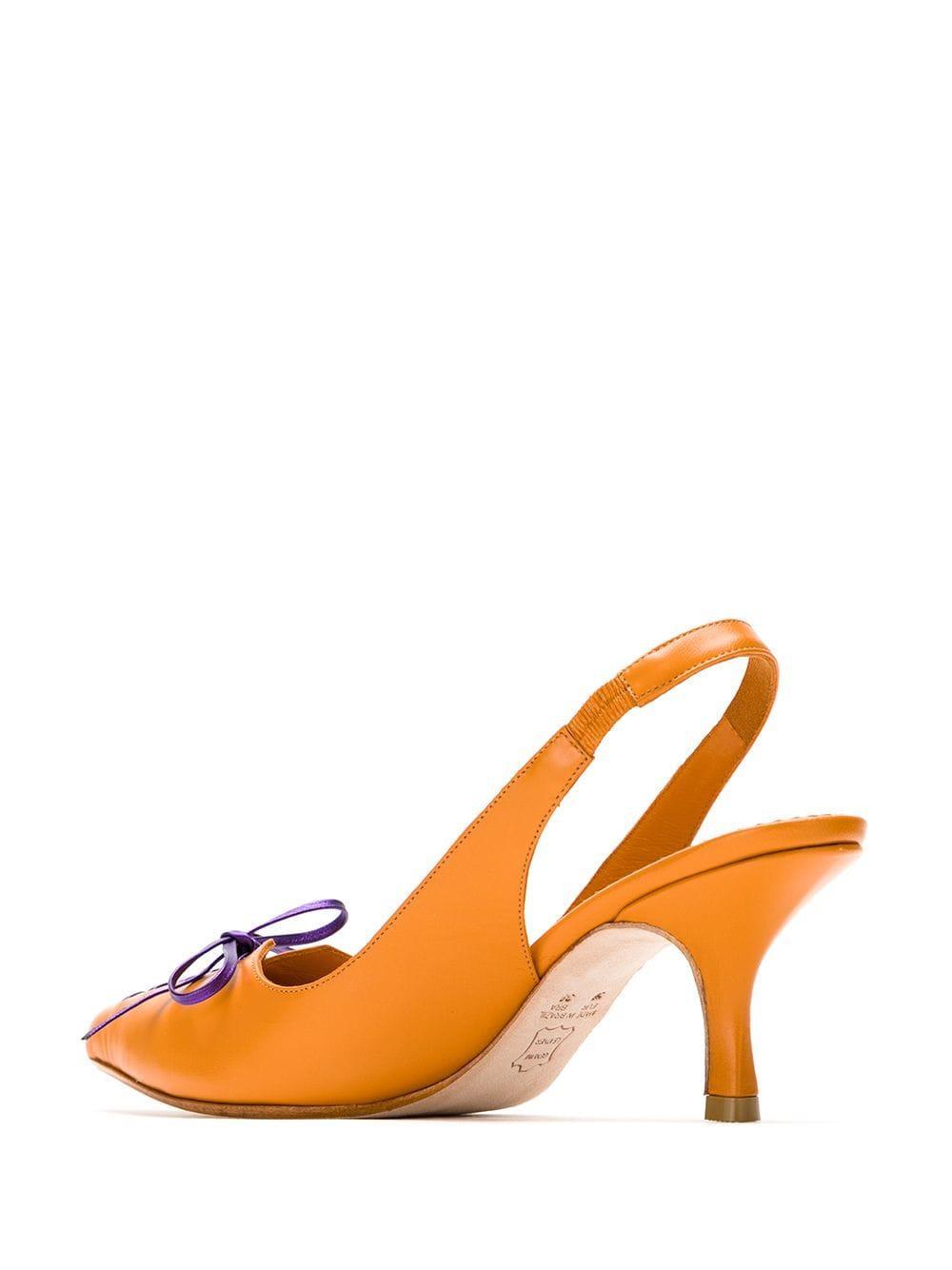 Zapatos de tacón con tira trasera y lazo Sarah Chofakian de color Naranja