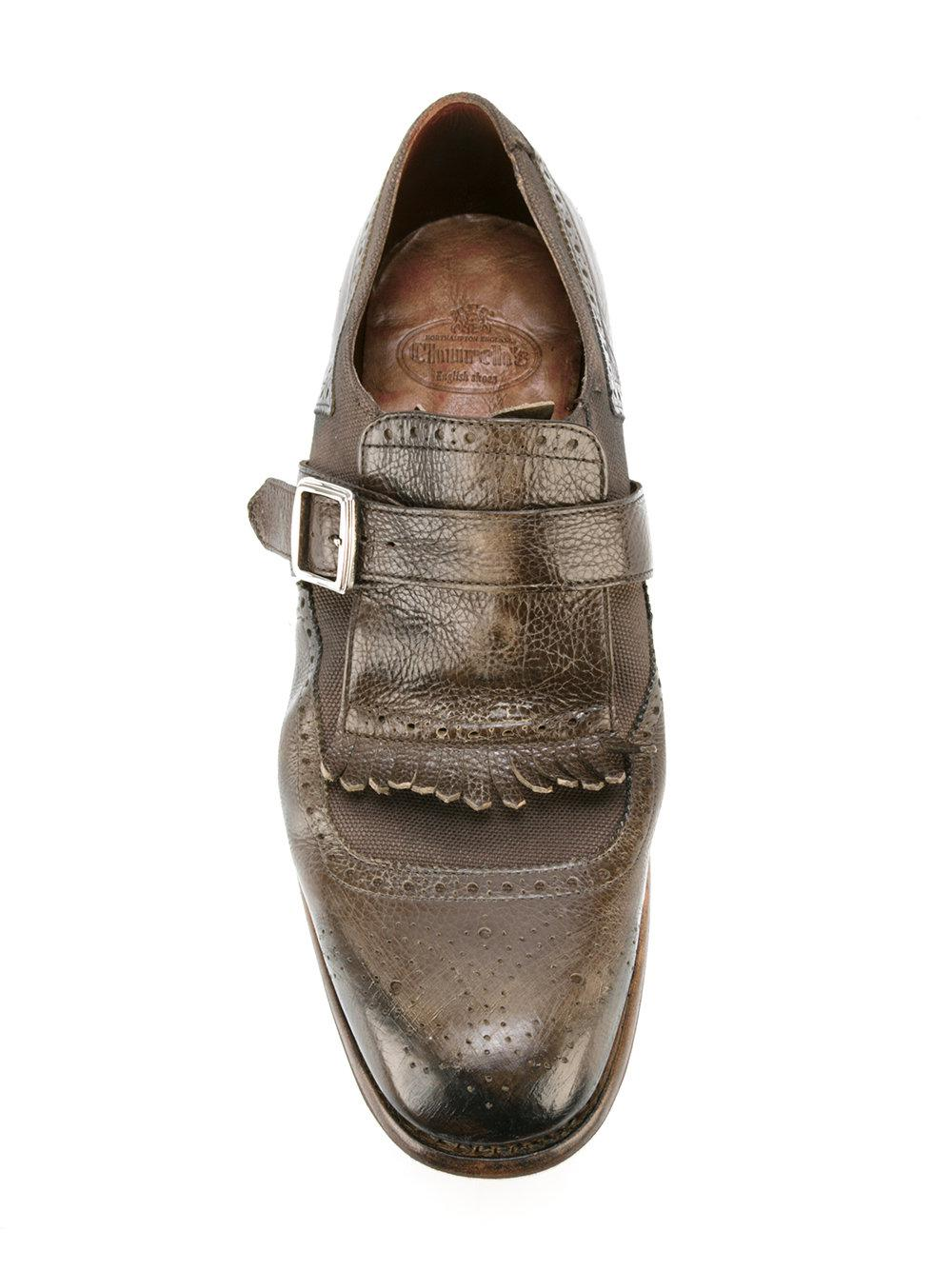 Church's Leather Fringed Trim Monk Shoes in Grey (Grey) for Men