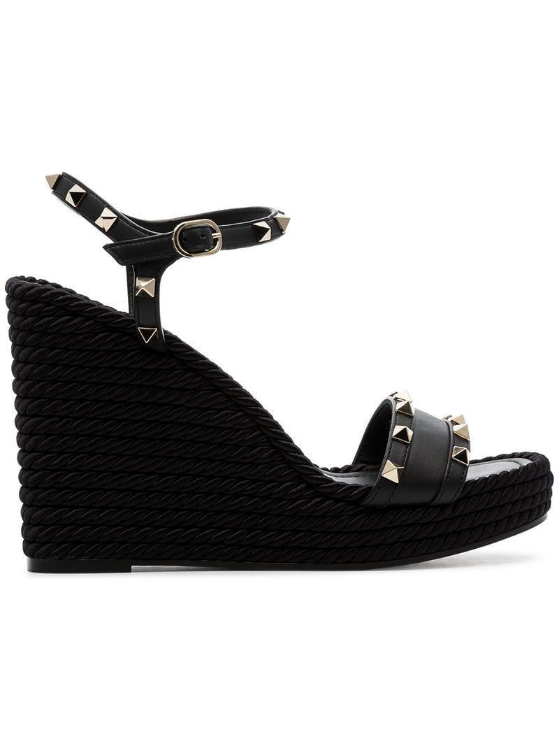 7f97f2f920c8 Valentino. Women s Black Garavani Rockstud 120 Espadrille Wedge Leather  Sandals