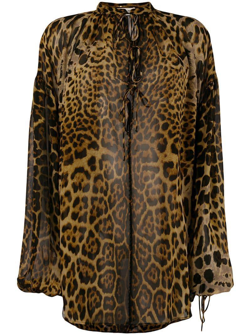 c1e97a68 Saint Laurent Leopard Print Silk Blouse in Brown - Lyst