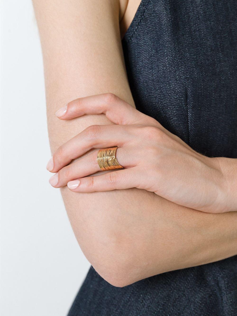 Gas Bijoux 'wave' Ring in Metallic