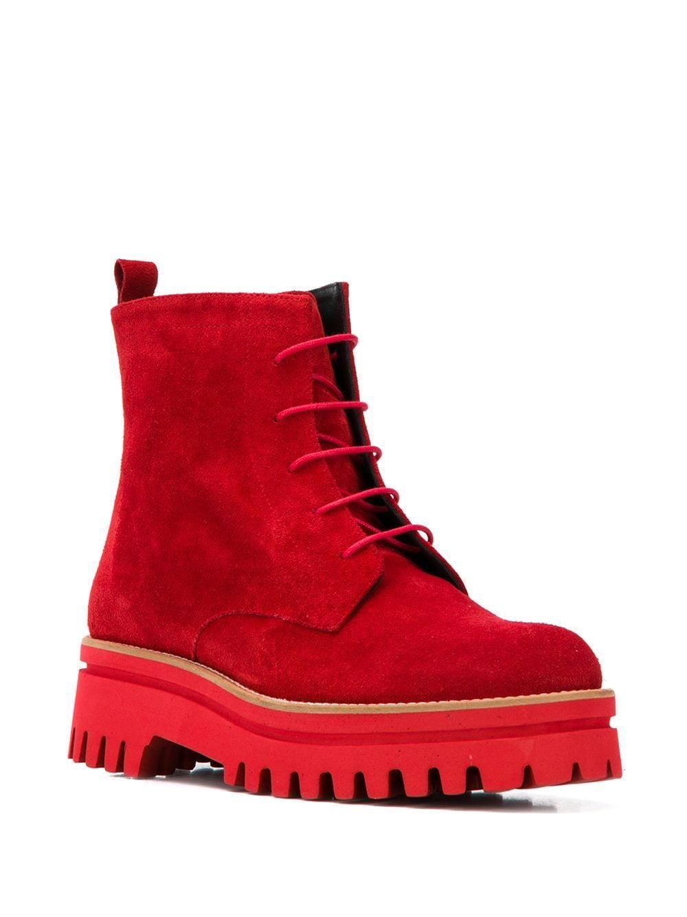 Botines con suela gruesa Paloma Barceló de Ante de color Rojo