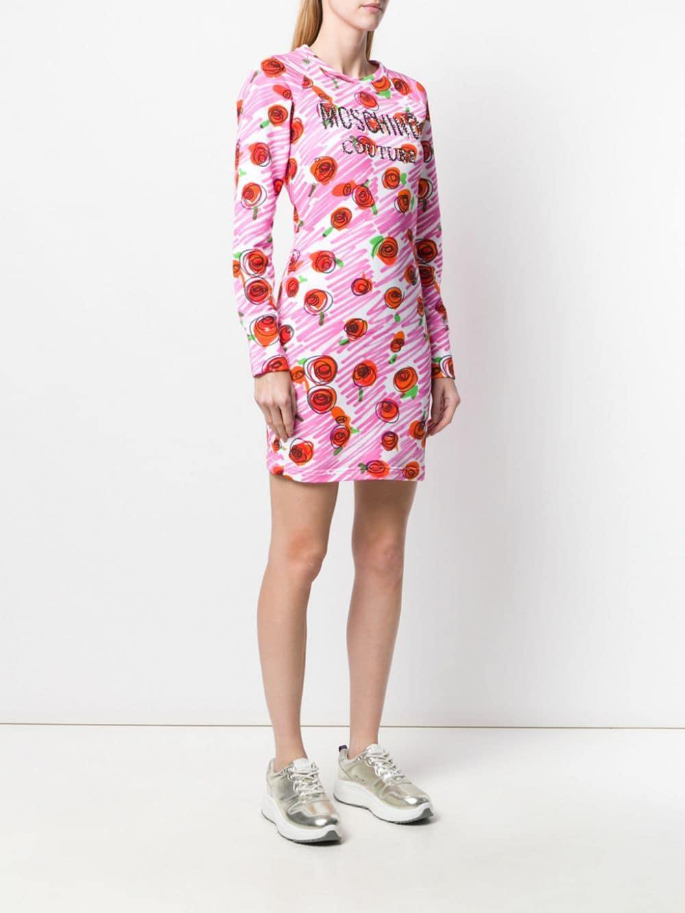 Vestido ajustado con logo Moschino de Algodón de color Rosa