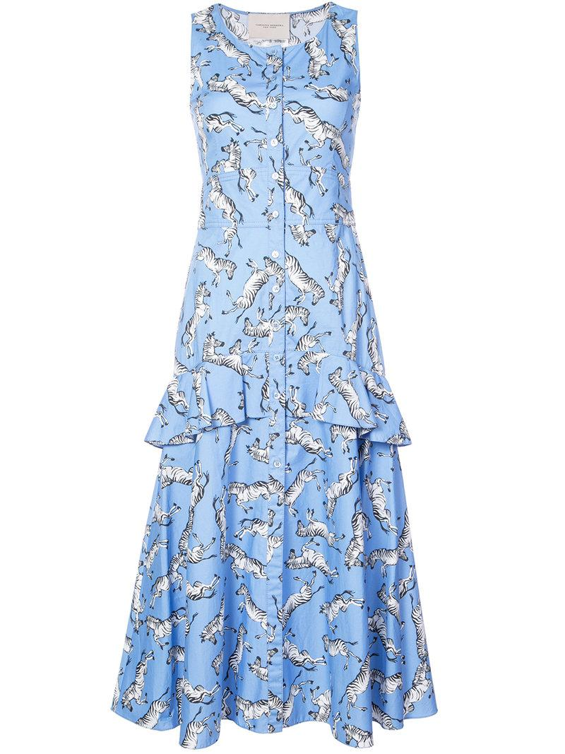 Lyst - Carolina Herrera Zebra Print Layered Dress in Blue