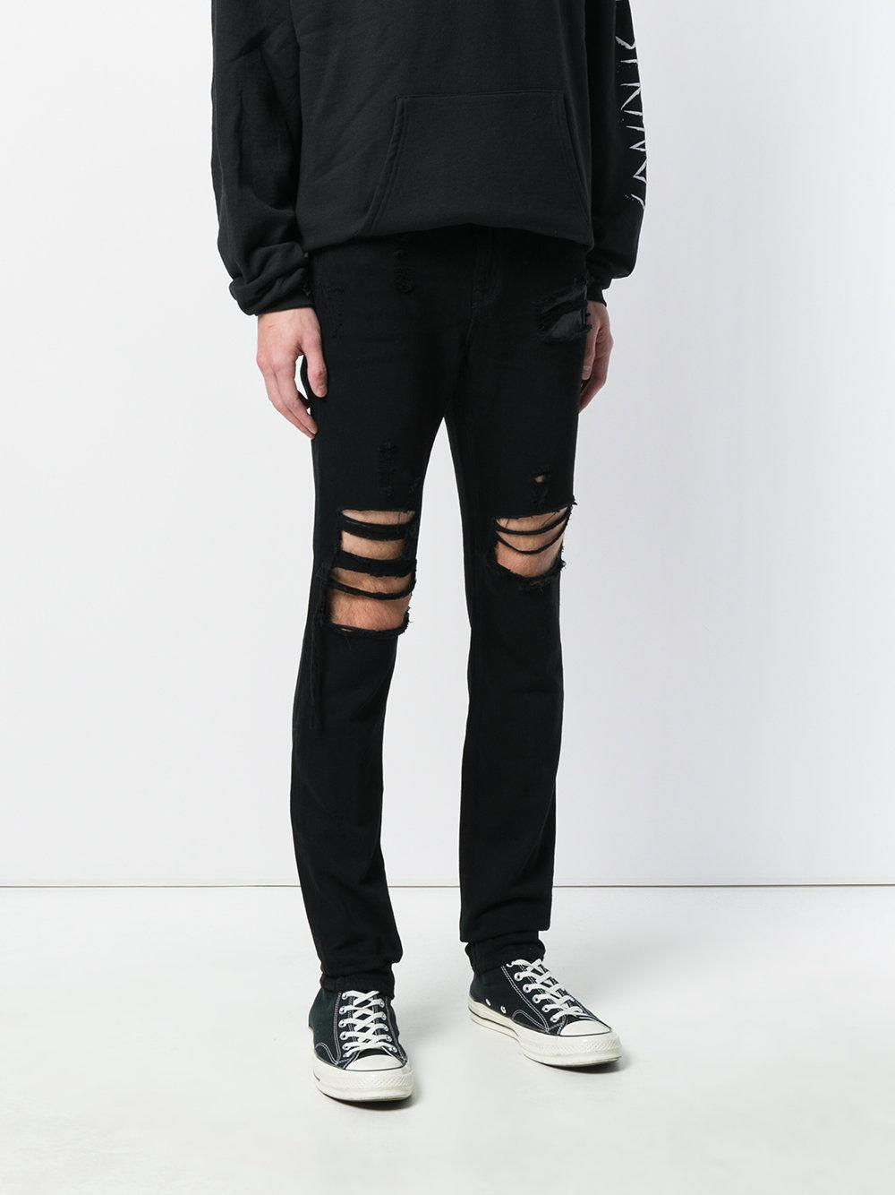 RTA Denim Ripped Skinny Jeans in Black for Men