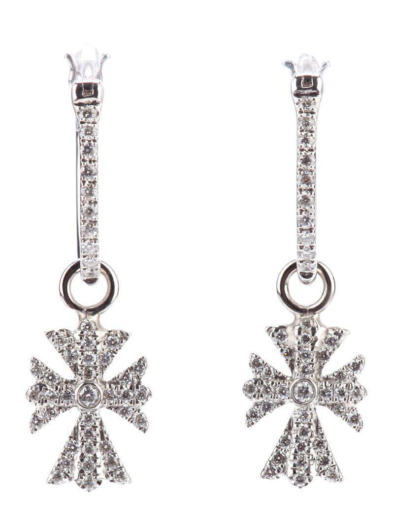 Elise Dray diamond cross earrings - Metallic sEaLKs