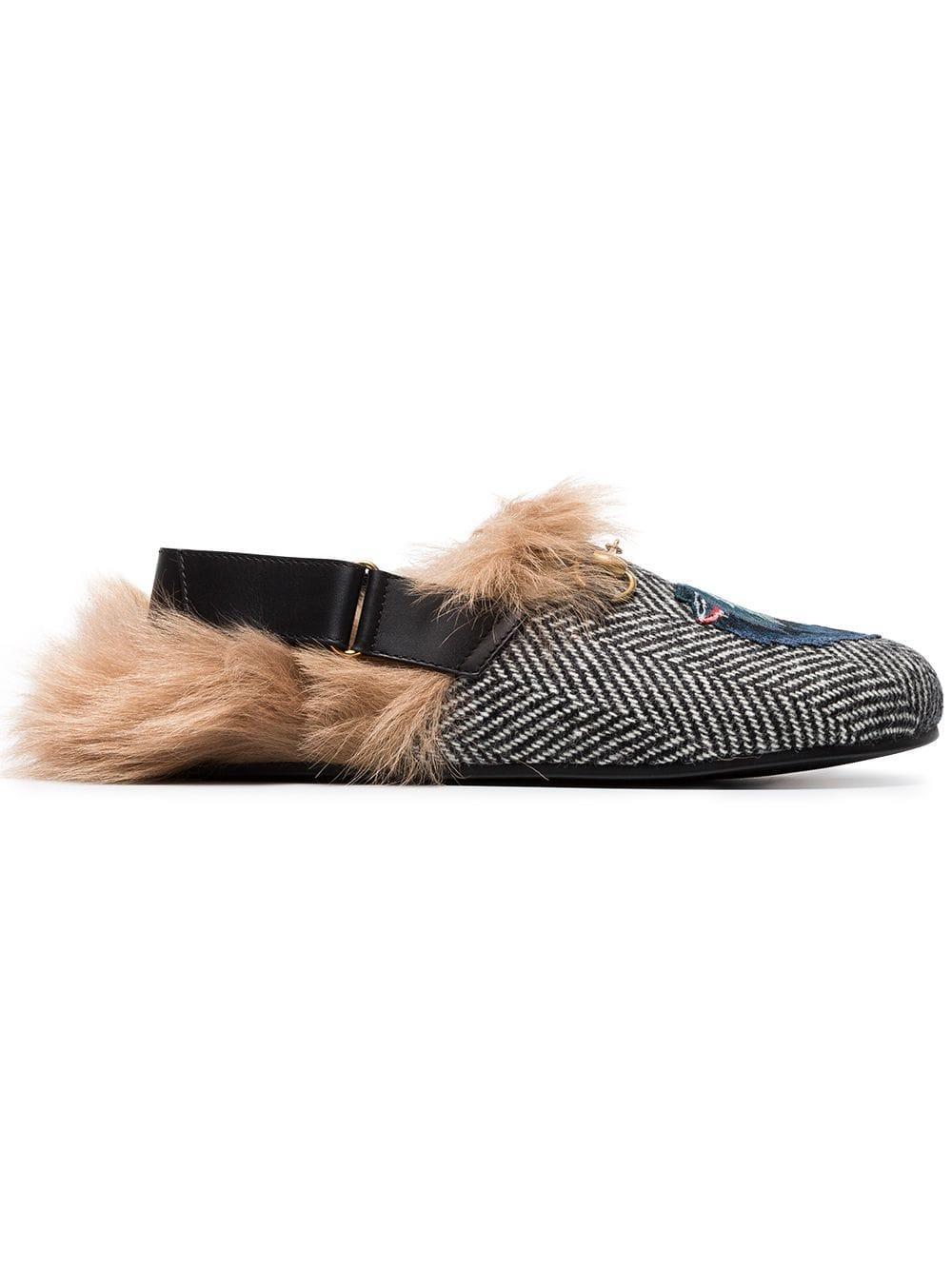 Gucci Fur Herringbone Slippers With